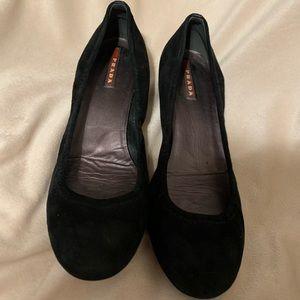 Prada Black Suede Kitten Heels, Size 39